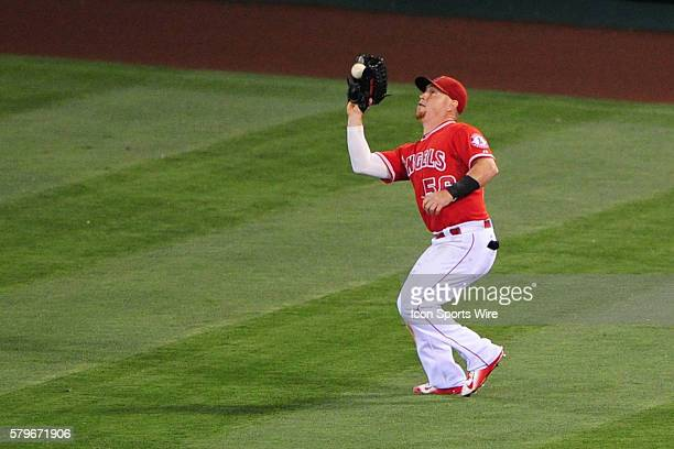 Los Angeles Angels of Anaheim Right field Kole Calhoun [9429] catches a ball hit deep into right field the game between the Texas Rangers and the...