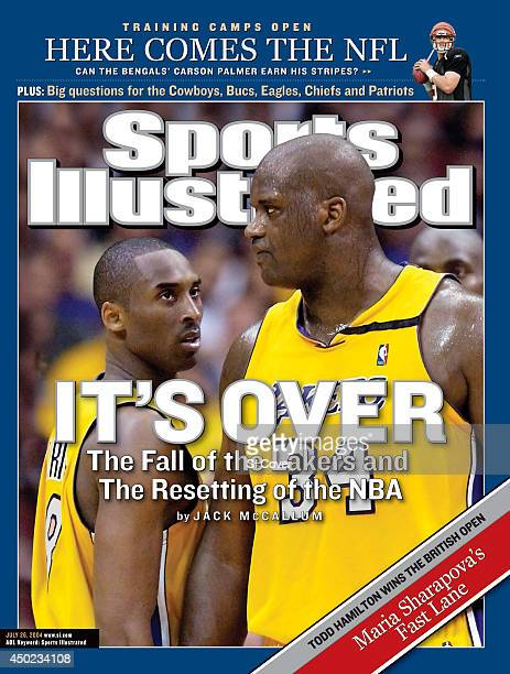 July 26 2004 Sports Illustrated via Getty Images Cover NBA Playoffs Los Angeles Lakers Kobe Bryant and Shaquille O'Neal on court during 2nd quarter...