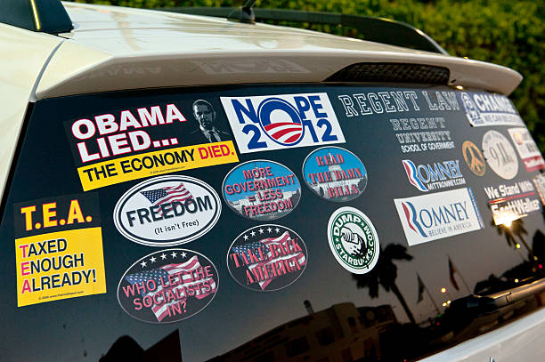 July 26 2012 car bumper stickers with tea party president obama and mitt romney