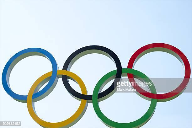 July 26 2012 London England UK A sculpture of the Olympic Rings is positioned on the grounds of the Olympic Village the day before the opening of the...