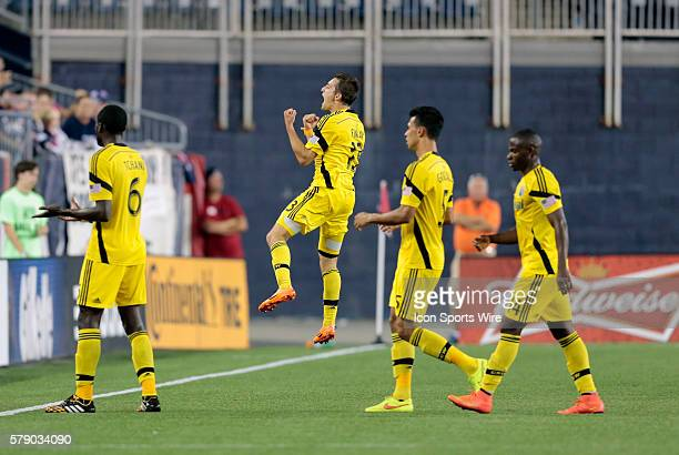 Columbus Crew's Ethan Finlay celebrates his eventual game winning goal The Columbus Crew defeated the New England Revolution 21 in a regular season...