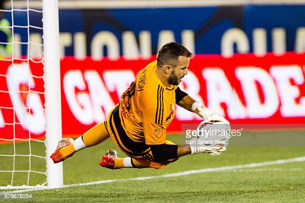 New York Red Bulls goalkeeper Kyle Reynish with a save during the second half of the International Champions Cup featuring the New York Red Bulls...