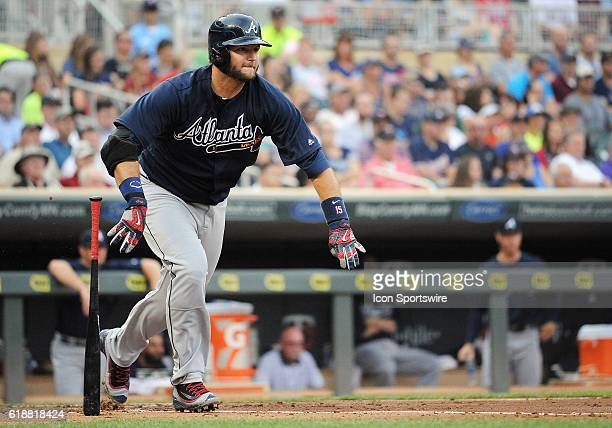 Atlanta Braves Catcher AJ Pierzynski [2014] hits a double during a MLB Interleague game between the Minnesota Twins and the Atlanta Braves at Target...