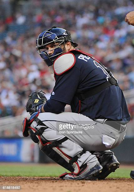 Atlanta Braves Catcher AJ Pierzynski [2014] looks to the dugout for the call during a MLB Interleague game between the Minnesota Twins and the...