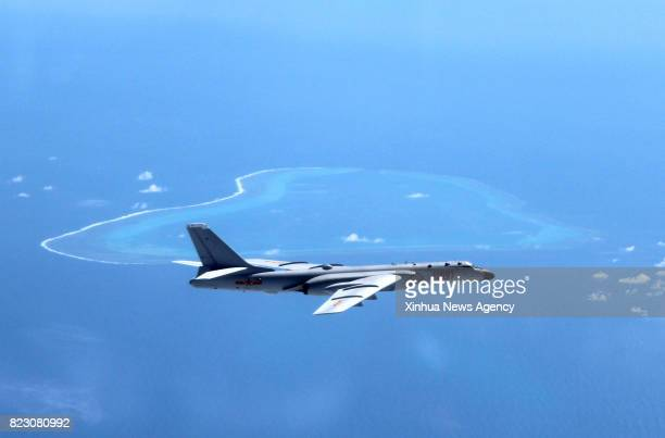 File photo taken in July 2016 shows Chinese H6K bomber patrolling islands and reefs including Huangyan Island in the South China Sea It has been a...