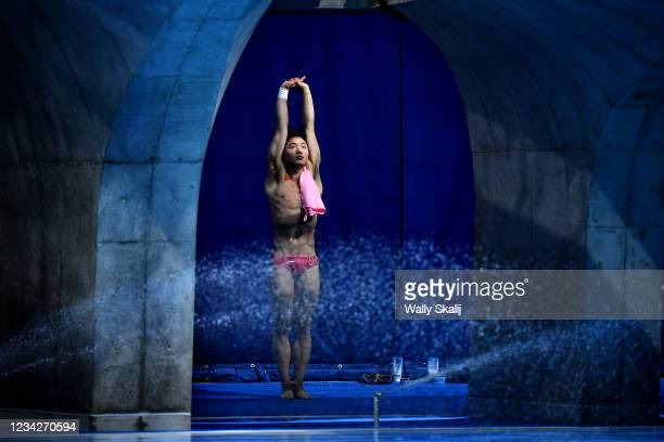 July 26, 2021: A member of Chinas mens synchronized 3m springboard prepares for the final at the 2020 Tokyo Olympics.