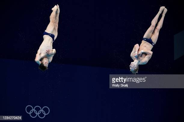 July 26, 2021: USAs Michael Hixon, left, and Andrew Capobianco compete in the synchronized 3m springboard final at the 2020 Tokyo Olympics.