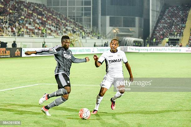 Danny Amankwaa of FC Kobenhavn and Wiliam Amorim of FC Astra Giurgiu during the UEFA Champions League Third Qualifying Round 20162017 game between FC...