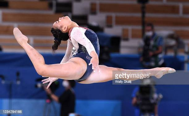 July 29, 2021: USAs Sunisa Lee competes on the floor exercise in the womens individual all-around final at the 2020 Tokyo Olympics.