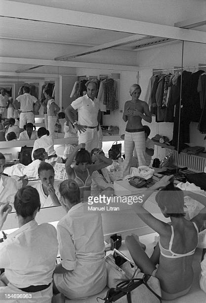 July 29 presentation of new models of the 19691970 winter collection fashion designer Andre Courreges Backstage at the parade the designer surrounded...