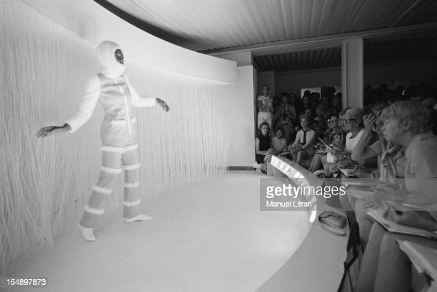 July 29 presentation of new models of the 19691970 winter collection fashion designer Andre Courreges A mannequin wearing a suit and a white hood on...