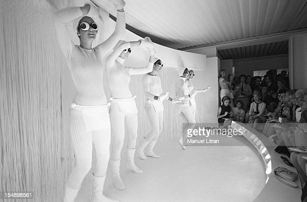 July 29 presentation of new models of the 19691970 winter collection fashion designer Andre Courreges The mannequins all dressed in white dance...