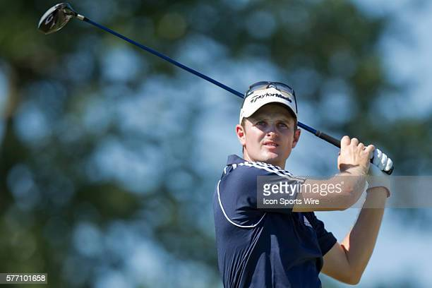 Justin Rose with his tee shot on the 12th Hole during the third round of the AT&T National at Aronimink Golf Club in Newtown Square, Pennsylvania.