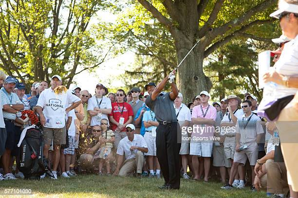 Tiger Woods with the shot from outside the fairway on the 7th hole during the third round of the AT&T National at Aronimink Golf Club in Newtown...