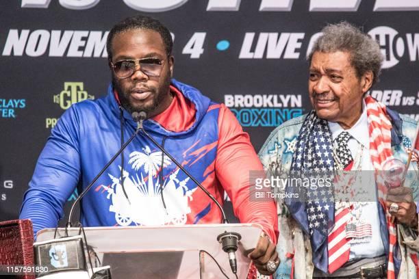 July 30 MANDATORY CREDIT Bill Tompkins/Getty Images Boxing promoter Don King looks on as Bermane Stiverne speaks at the Deontay Wilder vs Bermane...