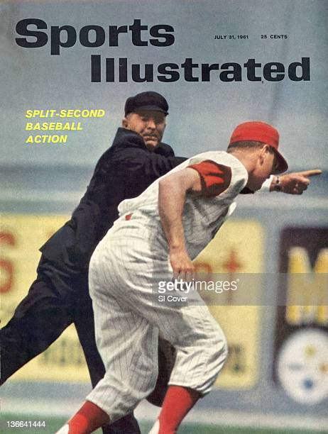 July 31 1961 Sports Illustrated via Getty Images Cover Umpire making fair ball call during Philadelphia Phillies vs Pittsburgh Pirates game at Connie...