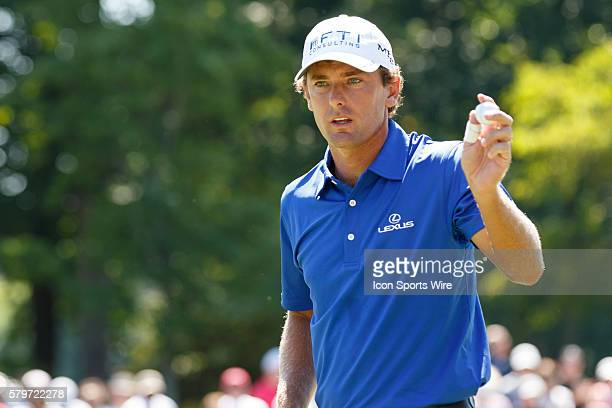 Charles Howell III acknowledges the crowd after making a birdie putt during the second round of the Quicken Loans National at Robert Trent Jones Golf...