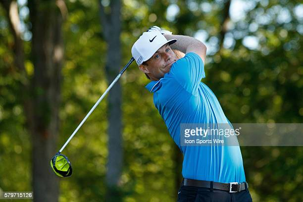 Nick Watney drives the ball off the 14th tee during the second round of the Quicken Loans National at Robert Trent Jones Golf Course in Gainesville,...