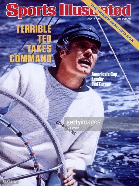 July 4 1977 Sports Illustrated Cover Sailing America's Cup Closeup of skipper Ted Turner in action aboard Courageous during preliminary trials...