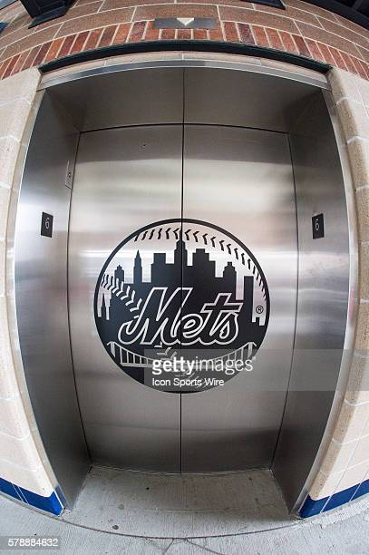 An elevator with a New York Mets logo on the promenade level of Citi Field prior to the Texas Rangers versus the New York Mets at Citi Field in...