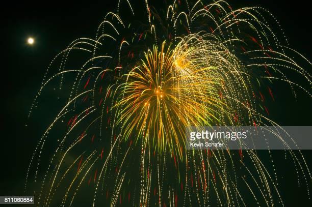 july 4th fireworks over the ocean, manzanita, oregon - manzanita stock pictures, royalty-free photos & images