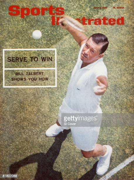 July 5 1965 Sports Illustrated Cover Tennis Aerial portrait of Bill Talbert in action serve at Town Tennis Club New York NY 5/14/1965