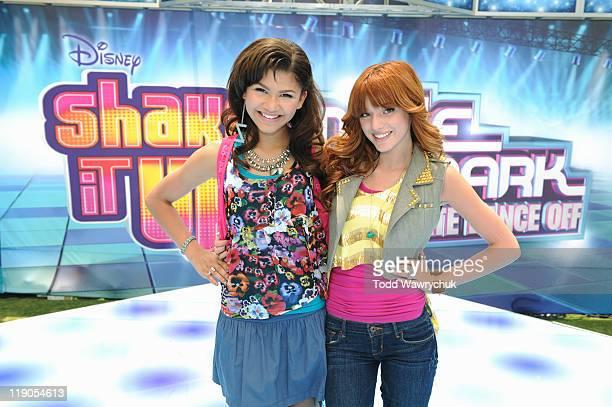 UP July 7 2011 'Shake It Up' stars Bella Thorne and Zendaya Radio Disney personality Ernie D and 'Shake It Up' choreographer Rosero McCoy help...