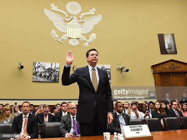 C July 7 2016 US FBI Director James Comey swears an oath before the House Oversight Committee over investigation into Hillary Clinton's email system...