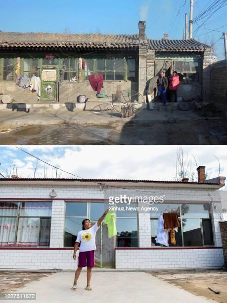 July 7, 2020 -- Combination photo shows an old house in Nancao Village of Jiazhuang Township, Shuocheng District, Shuozhou, north China's Shanxi...