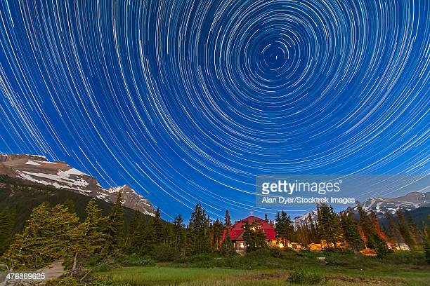 July 8, 2012 - Circumpolar star trails across the sky at Bow Lake in Banff National Park, Alberta, Canada. This is a composite of 233 images.