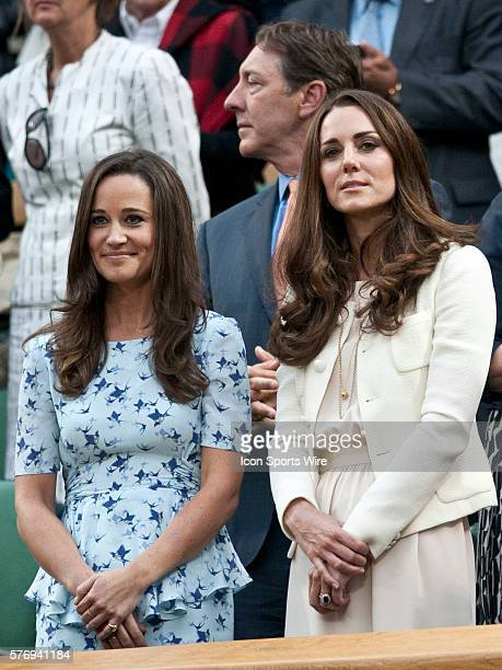 July 8 2012 Pippa Middleton and HRH Duchess of Cambridge watching Roger Federer of Switzerland defeating Andy Murray of Great Britain and claiming...