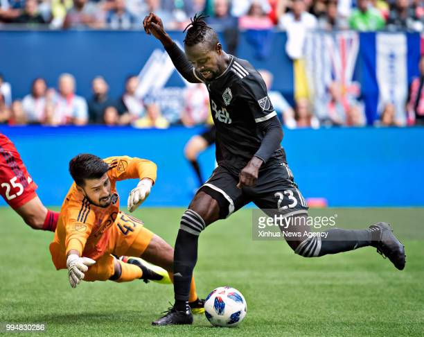 VANCOUVER July 8 2018 Kei Kamara of Vancouver Whitecaps shoots during the 2018 Major League Soccer match against Chicago Fire at the BC Place in...