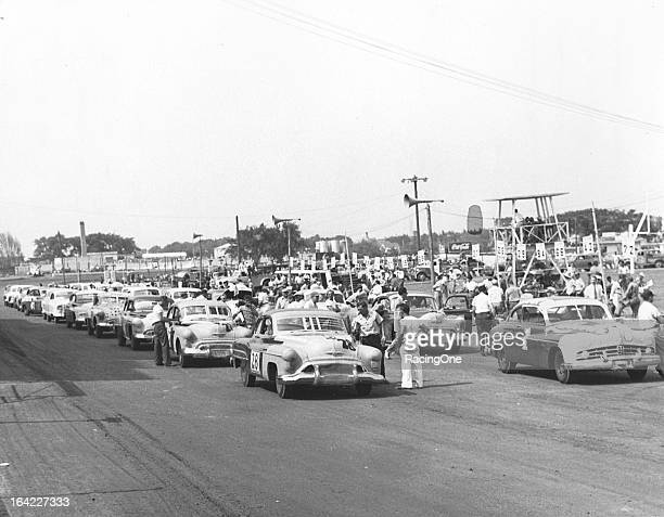 July 9, 1950: The field gets set for the start of an AAA-sanctioned stock car race on the Milwaukee Mile. Myron Fohr started a 1949 Mercury from the...
