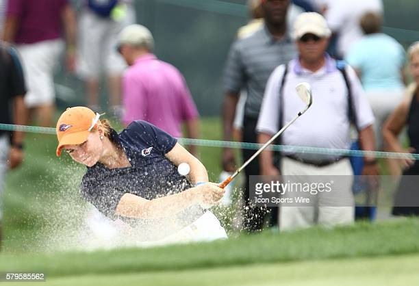 Nikki Long hits out of a green side bunker during the first round of the US Women's Open at Lancaster Country Club in Lancaster PA