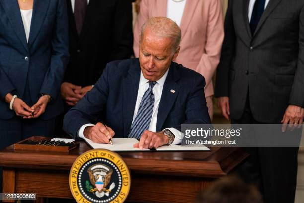 July 9, 2021: US President Joe Biden delivers remarks and signs an executive order on promoting competition in the American economy in the State...