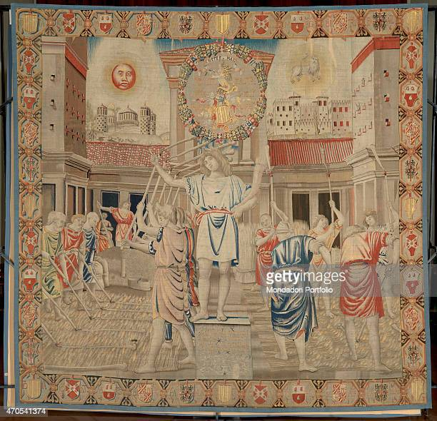 'July by Benedetto da Milano upon drawing by Bramantino c 15031508 16th Century tapestry Italy Lombardy Milan Sforza Castle Whole artwork view...