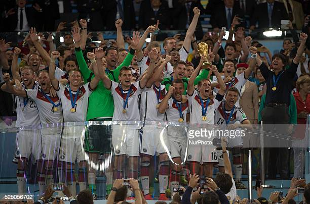 July: Germany players celebrating the victory as a World Champions in match between Germany and Argentina, corresponding to the 2014 World Cup final,...