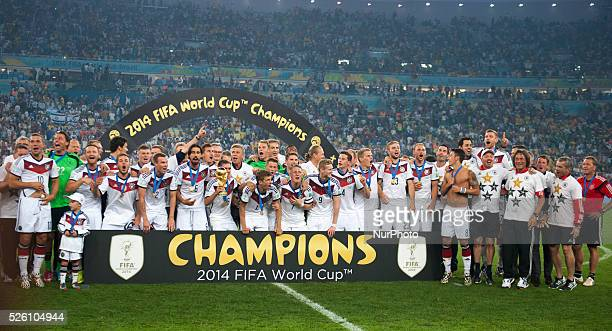 Germany team celebration in match between Germany and Argentina corresponding to the 2014 World Cup final played at the Maracana Stadium July 13 2014...