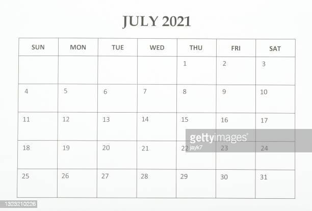 july month calendar - july stock pictures, royalty-free photos & images