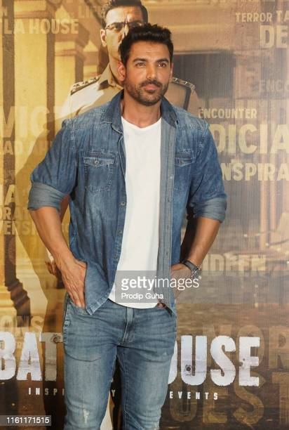 Actor John Abraham attends the trailer launch of movie Batla House on July 102019 in Mumbai India