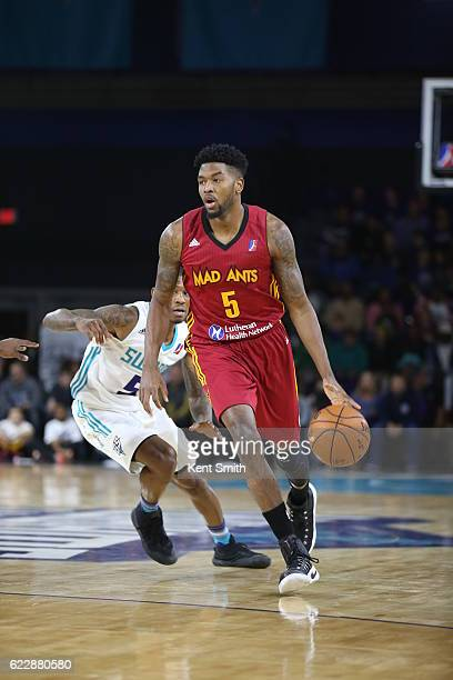 Julyan Stone of the Fort Wayne Mad Ants handles the ball against the Greensboro Swarm during the game at the The Field House at the Greensboro...