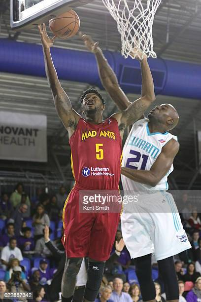 Julyan Stone of the Fort Wayne Mad Ants scores against Damien Wilkins of the Greensboro Swarm during the game at the The Field House at the...