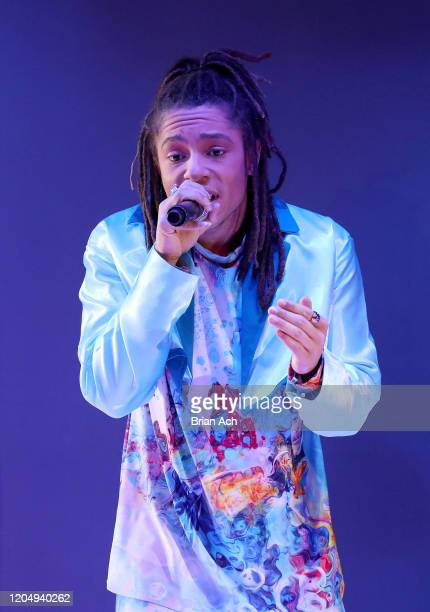 Ju-lyon Grant performs onstage wearing dkDesign Fashion during NYFW Powered By hiTechMODA on February 08, 2020 in New York City.