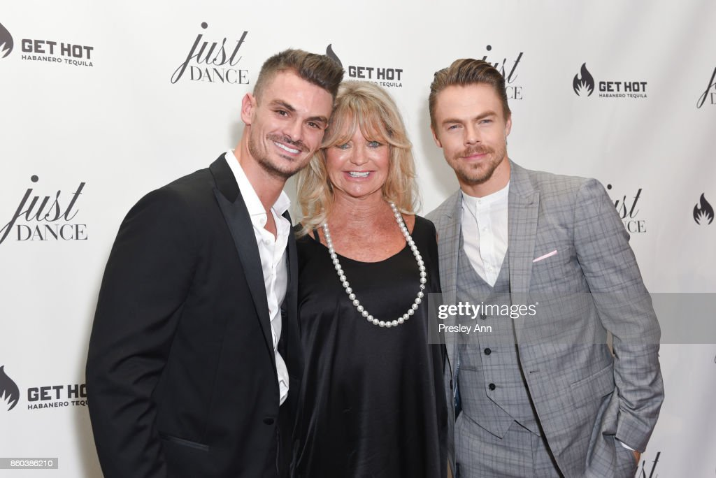 Julz Tocker, Goldie Hawn and Derek Hough attend grand opening event for JustDance LA at Just Dance Los Angeles on October 11, 2017 in Studio City, California.