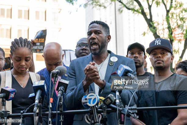 Jumaane Williams speaks at rally and press conference to demand firing police officer Daniel Pantaleo accused of using banned chokehold on Eric...