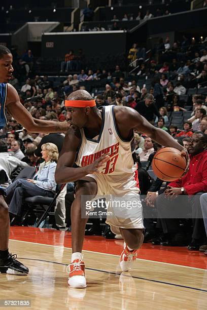 Jumaine Jones of the Charlotte Bobcats drives during a game against the Orlando Magic at the Charlotte Coliseum on March 21 2006 in Charlotte North...