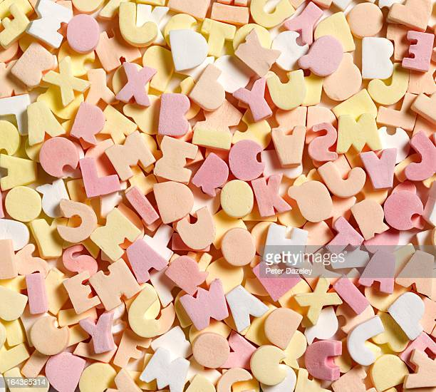 Jumbled sweets depicting dyslexia