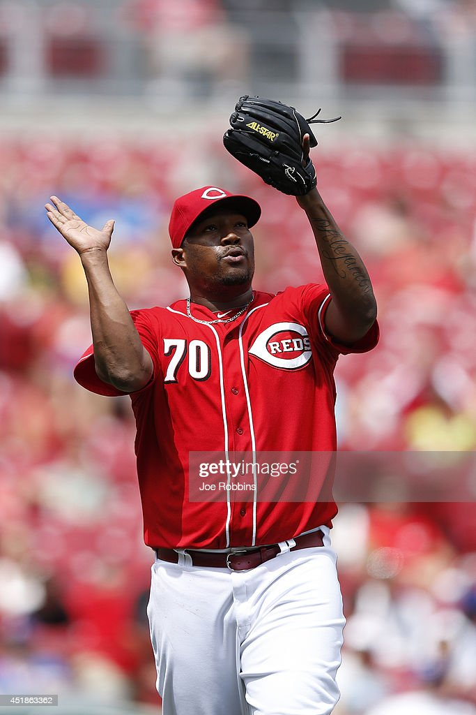 Jumbo Diaz #70 of the Cincinnati Reds celebrates after getting a strikeout against Nate Schierholtz of the Chicago Cubs to end the eighth inning of the game at Great American Ball Park on July 8, 2014 in Cincinnati, Ohio. The Reds won 4-2.