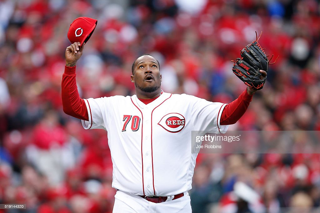 Jumbo Diaz #70 of the Cincinnati Reds celebrates after the final out of the seventh inning in the opening day game against the Philadelphia Phillies at Great American Ball Park on April 4, 2016 in Cincinnati, Ohio. The Reds defeated the Phillies 6-2.