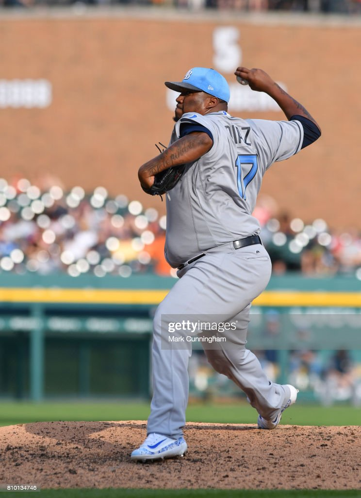 Jumbo Diaz #17 of the Tampa Bay Rays pitches during the game against the Detroit Tigers while wearing a special blue jersey and hat for prostate cancer awareness on Father's Day Weekend at Comerica Park on June 17, 2017 in Detroit, Michigan. The Rays defeated the Tigers 3-2.